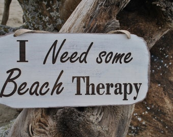 Beach Sign, I Need Some Beach Therapy Sign, Beach Cottage Sign, Beach Decor Sign, Beach Wall Hanging Sign.