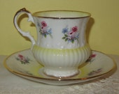 FREE SHIPPING - Mid Century Elizabethan Fine English Bone China Tea Cup and Saucer