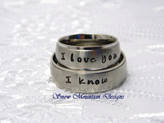 Items similar to Couples Hand Stamaped Name Ring ...