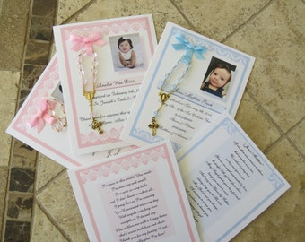 40 BAPTISM FAVORS rosary cards