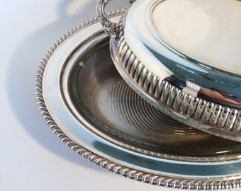 Silver plate covered Server Vintage w/glass baking dish by Leonard