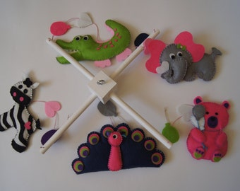 Baby Crib Mobile - Musical Baby Mobile -  Felt Mobile - Nursery mobile - Funny Animals