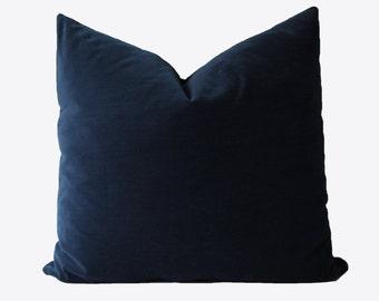 Decorative Velvet Navy Blue, 18x18, 20x20, 22x22 or Lumbar, Blue Throw Pillow