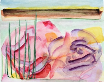 "SALE !!! Abstract watercolor flower painting, original. Bright summer colors, sunny yellow, pink, purple 9"" x 9.9"". Up to the horizon 2"