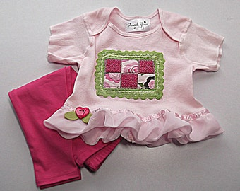 Shabby Baby Shirt & Leggings / Cottage Chic Outfit Infant Unique Clothing
