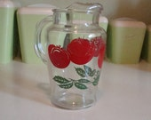 Mid Century Tomato Juice Pitcher ~ Clear Glass with Bright Red Tomatoes