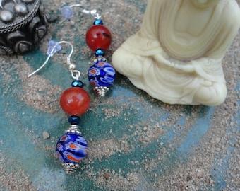 Amber & Blue Beaded Earrings