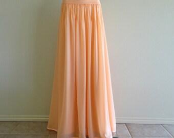 Peach Long Skirt. Maxi Skirt. Peach Bridesmaid Skirt. Floor Length Chiffon Skirt. Evening Skirt.