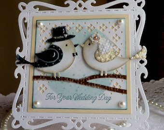 "Stampin up! CottageCutz Handmade ""Wedding Day"" card - NEW"