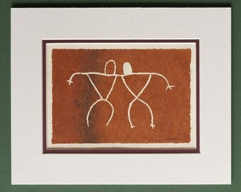 Twin - Hawaiian Petroglyph Design  on Tapa Cloth - Matted and READY TO FRAME