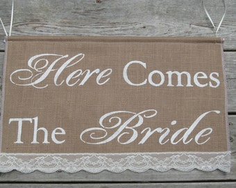 Large Here Comes The Bride Banner - Large Two Font Burlap Sign - Ring Bearer Sign - Here Comes The Bride Burlap Sign - Rustic Wedding Sign