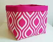 Extra Large Storage Basket Fabric Organizer in Candy Pink and White with Pink Canvas liner - 10 x 10 x 10