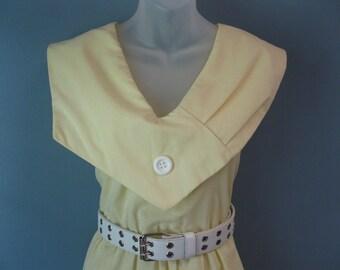 Vintage 1970's Yellow Nautical Dress Sailor Collar Cotton Summer Trend