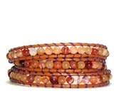 Leather Wrap Bracelet - Carnelian Gemstone Bracelet w/ Purple Thread on Henna Leather, 3 Wrap Leather Bracelet