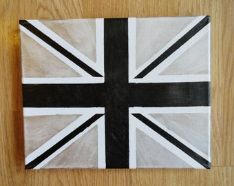 """Black and Silver Union Jack Painting 8"""" x 10"""""""