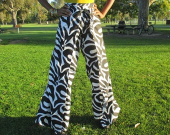 Zebra Print Cotton/Polyester Wrap Pants / Beach / Resort / Lounge Pants, Casual Summer Pants -Size 4 ~ CLEARANCE