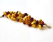 Organic Amber Bracelet Multicolor Linen Bracelet Modern Multistrand Jewelry Winter Fashion - KARUBA