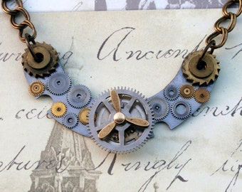 Steampunk Necklace, Gear Necklace, Antique Mantle Clock Parts Necklace, Victorian Necklace, Propellor Necklace, Double Link Necklace, N42