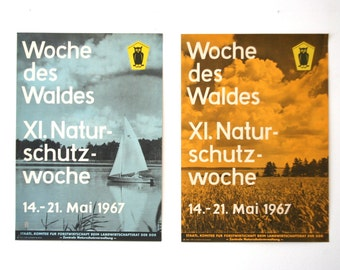 1967 Vintage German DDR Educational Environmental Awareness Week Poster Advert DDR Germany