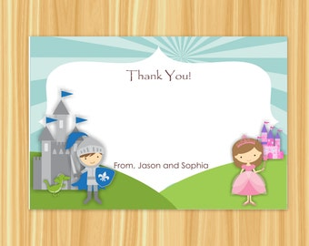 Knight and Princess Thank You Card | Knight Thank You Card | Princess Thank You Card | Knight Party | Princess Party