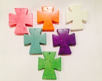 43x48mm cross, magnesite howlite, pendant, 1piece