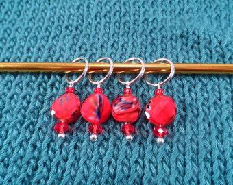 Red Twist Stitch Markers set of 4
