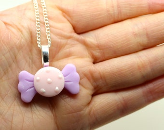 Lilac and Pink Pastel Sweet Candy Pendant on Curb Chain By MillyPops - Kawaii, Kitsch, Lolita, Harajuku, Cute