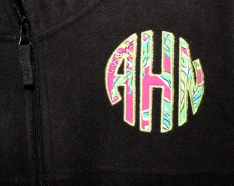 Fleece with Lilly Pulitzer Circle Monogram Design