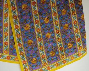"1960s Vintage Scarf Fun Flower Rayon / Silk Scarf  Made by ""Glenty""  Purple yellow green blue orange boho"