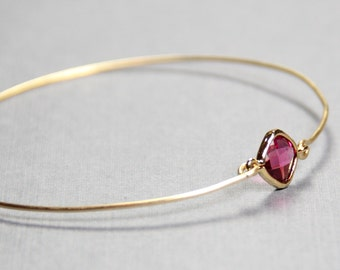 Ruby Bangle Bracelet- BridesMaid Gift - Gemstone Bracelet- July Birthstone Bracelet