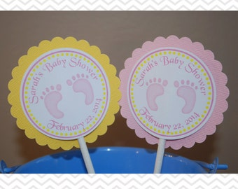 Baby Feet Pink Cupcake Toppers - Set of 12 Personalized Birthday Baby Shower Decorations