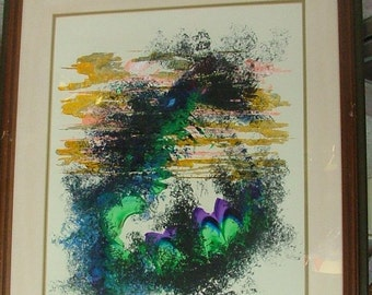 Dramatic Signed ABSTRACT Some Similarity To Dragon With Magenta And Green Highlights