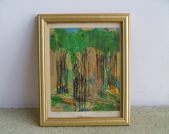 Forest Scene SIGNED NUMBERED LITHOGRAPH Mid Century Art By Freeman Worthley