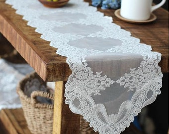 Free Shipping Wholesale Wedding Tablecloth Tabletopper Table Runner Doily Lace 21x180cm