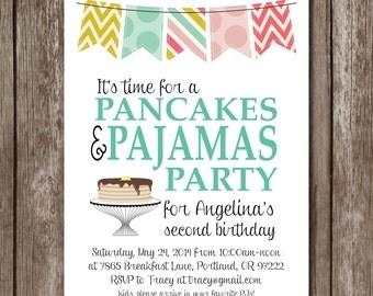Pancakes + Pajamas Printable Party Invite//Birthday//Shower//Digital File