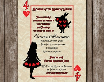Alice in Wonderland Invite//Birthday//Baby Shower//Bridal Shower//PDF//Printable