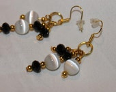 Handcrafted White Catseye and Black Swarovski Beaded Earrings
