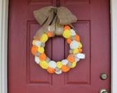 Fall Jute Yarn Wreath/Halloween/Thanksgiving/Burlap Flowers/Roses/Yarn Balls/Candy Corn