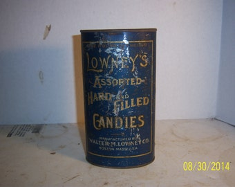 1920's Lowney's Hard Candy Boston, Mass 6 5/8  inch tin Sweets
