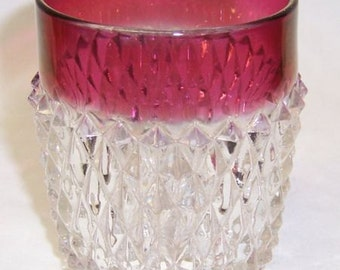 Indiana Glass Ruby Flashed DIAMOND POINT 3 1/2 Inch High 9 Ounce Flat Water Tumbler