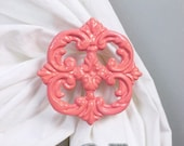 Curtain Tie Backs, Set of 2, Curtain Holdbacks, Coral, Shabby Cottage Chic, Curtain Accessories