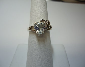 Heart Cut Aquamarine Ring in Sterling Silver