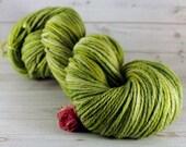 Sage Hand Dyed Yarn, worsted merino wool, green gray yarn