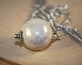 Long Necklace with White Crackle Ceramic Bead