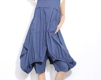 Linen pants in blue C309