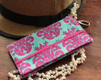 NEW Perfect Cell Phone Wallet Teal and Hot Pink iPhone/Samsung Smart Phone Wallet with Zipper