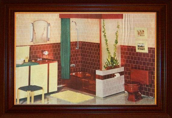 Maroon bathroom print 1950 styron wall tile ad by for Maroon bathroom ideas