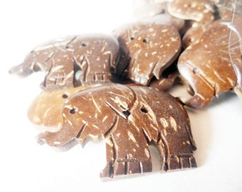 10 pcs. Coconut Shell  Elephant Button