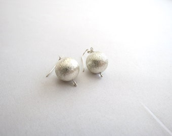Large Silver Ball Earrings