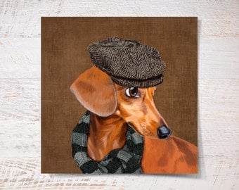 Dachshund print, Dachshund poster print pet gift funny print dog print pet portrait illustration wall art fine art print wall decor